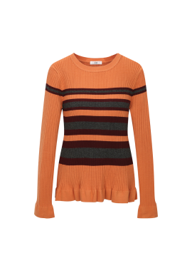 ◆ Stripe Frill Detail Pullover