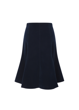 ◆ Suede Flare Midi Skirt