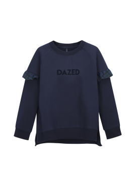 Sleeve Check Ruffle Detail Sweatshirts