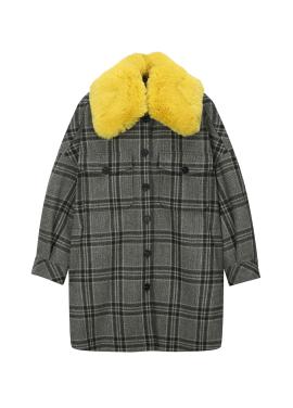 Fake Fur Collar Detail Coat