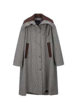 Knit High-Neck Check A-Line Coat