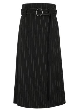 [시즌오프50%/DONADONA]Stripe Skirt_Black