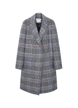 ★ Wool Blend Cooling Check Coat