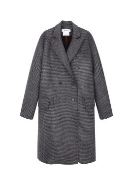 Wool Blend Classic Check Long Coat