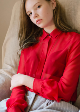 [Sorry, Too Much Love/입점기념/10%+5%] four Seasons chiffon blouse_red