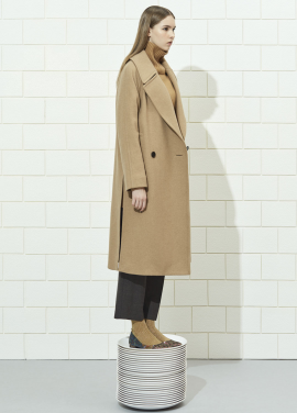 Wide Collar Loose-Fit Long Coat