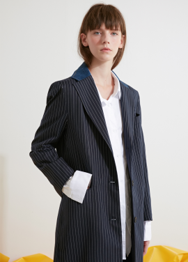 [시즌오프 15%/SMORE] DENIM COLLOR PIN STRIPE COAT