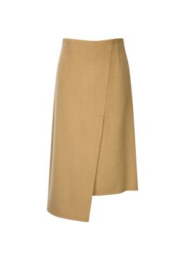 Wool Blend Unbalance Long Skirt