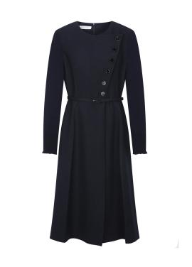 Button Design Belt Dress