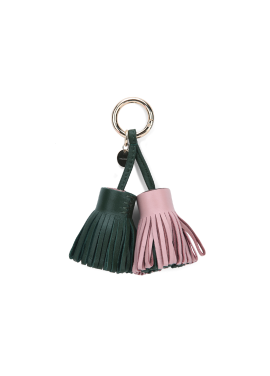 Two Color Leather Key Ring
