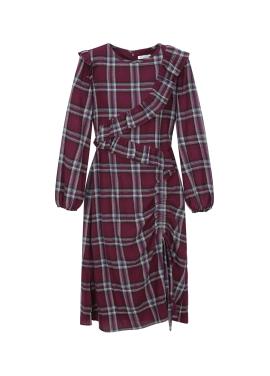 Check Patterned Ruffle String Dress