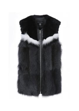 Point Colorblock Fur Vest