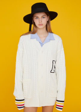 [MSKN2ND/17FW시즌오프/20%+10%쿠폰] COLORED CUFF M PATCH CARDIGAN WHITE