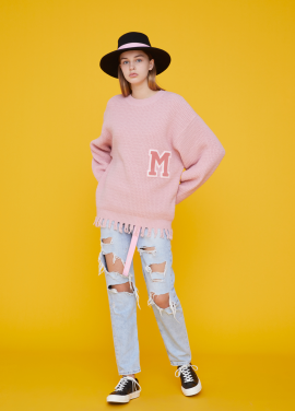 [MSKN2ND/17FW시즌오프/30%+10%쿠폰] RAW EDGE M PATCH SWEATER PINK