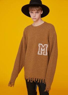 [MSKN2ND/런칭기념20%+5%COUPON] RAW EDGE M PATCH SWEATER CAMEL