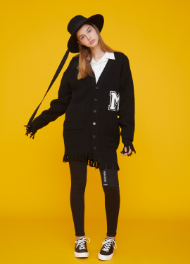 [MSKN2ND/17FW시즌오프/20%+10%쿠폰] RAW EDGE M PATCH CARDIGAN BLACK