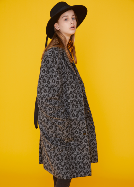 [MSKN2ND/17FW시즌오프/40%+10%쿠폰] LEOPARD OVERSIZED COAT CHARCOAL GRAY