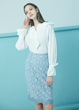 ◆ Cotton Blended Frill Blouse