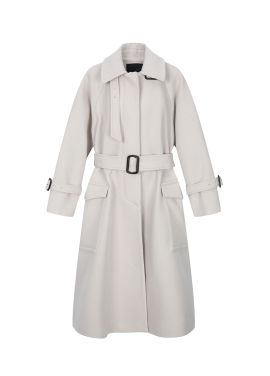 Wool Blend Trench Style Long Coat
