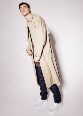 [NOHANT] WAXED LONG COAT BEIGE