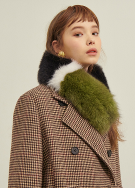 [SALON DE YOHN/10%+10%쿠폰]Color Block Fox Fur Muffler_3colors(DarkGrey,DarkNavy)
