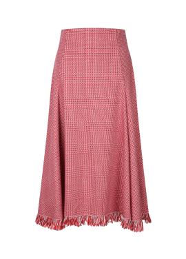 Check Fringe Flare Skirt