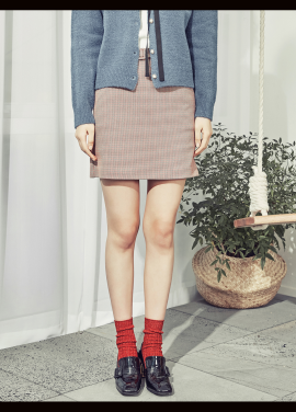 [BLANK//시즌오프!/30%] CHECK BELTED SKIRT RED