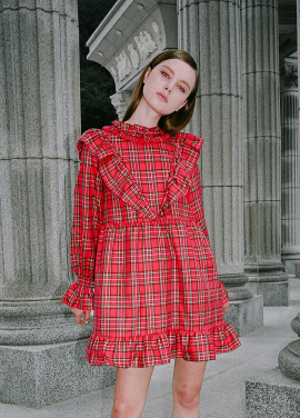 [CLUT STUDIO/핫브랜드/25%+10%쿠폰] 0 6 tartan check ruffle dress - RED
