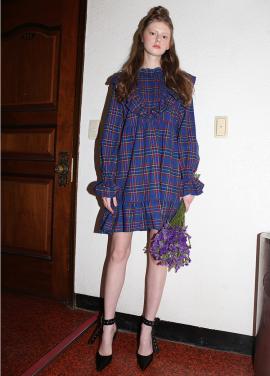 [CLUT STUDIO/시즌오프!/25%] 0 6 check ruffle babydoll dress - BLUE