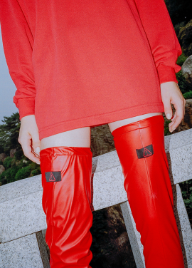 [CLUT STUDIO/시즌오프!/25%] 0 8 leather over knee socks - RED