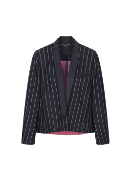 Short Blazer Stripe Wool Jacket
