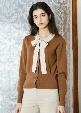[ADDSENSE/1월신상/EARLY SPRING/5%+5%쿠폰]RIBBON CARDIGAN_BROWN