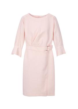Sleeve Pintuck Belt Dress