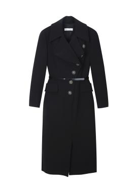 Belt Curve Button Wool Dress