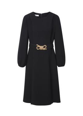 Black Gold Belt Point Dress