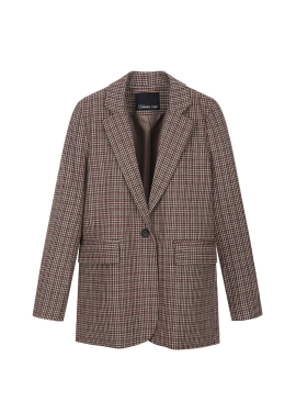 Wool Blend Single Button Check Jacket