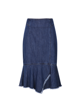 Denim Peplum Midi Skirt