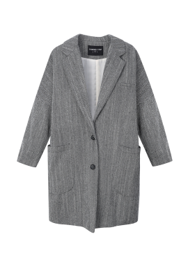 Wool Blend Herringbone Long Jacket
