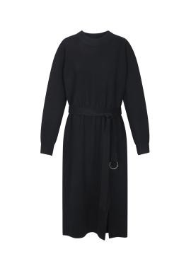 ★ Belted Slit Knit Long Dress