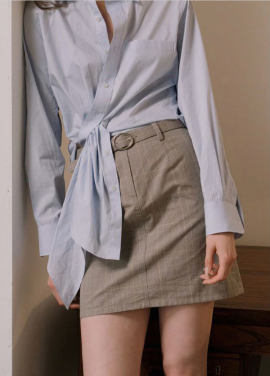 [KINDERSALMON] BELTED SKIRT_CHECK