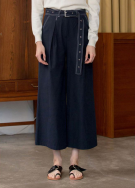 [KINDERSALMON] BELTED CULOTTES_NAVY