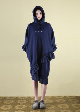 [CLUT STUDIO] 0 5 ruffle hood dress - navy