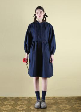 [CLUT STUDIO] 0 6 pintuck hood dress - navy