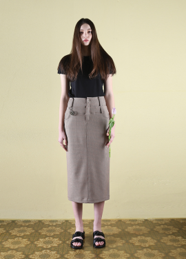 [CLUT STUDIO/10%+5%쿠폰]  0 7 double waist check skirt
