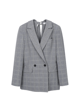 [30%할인+10%쿠폰] Back Side Strap Detail Check Jacket