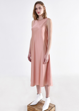 [PINBLACK/5%+5%SALE] satin fluid Dress PINK