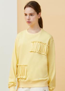 [김소은 착용★MILLOGREM/18SS 5%+5%쿠폰]Partial Shirring Sweatshirts - yellow