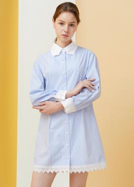 [시즌오프50%할인/MILLOGREM] Polygon Collar Stripe Dress - blue