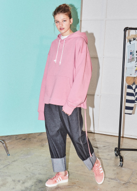 [NOHANT] REAR-OPENING PROCESS HOODIE PINK