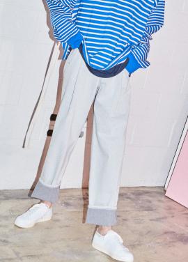 [NOHANT] DO-NOT-REVERSE COTTON PANTS DENIM GRAY